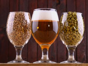Bier und Zutaten im Glas