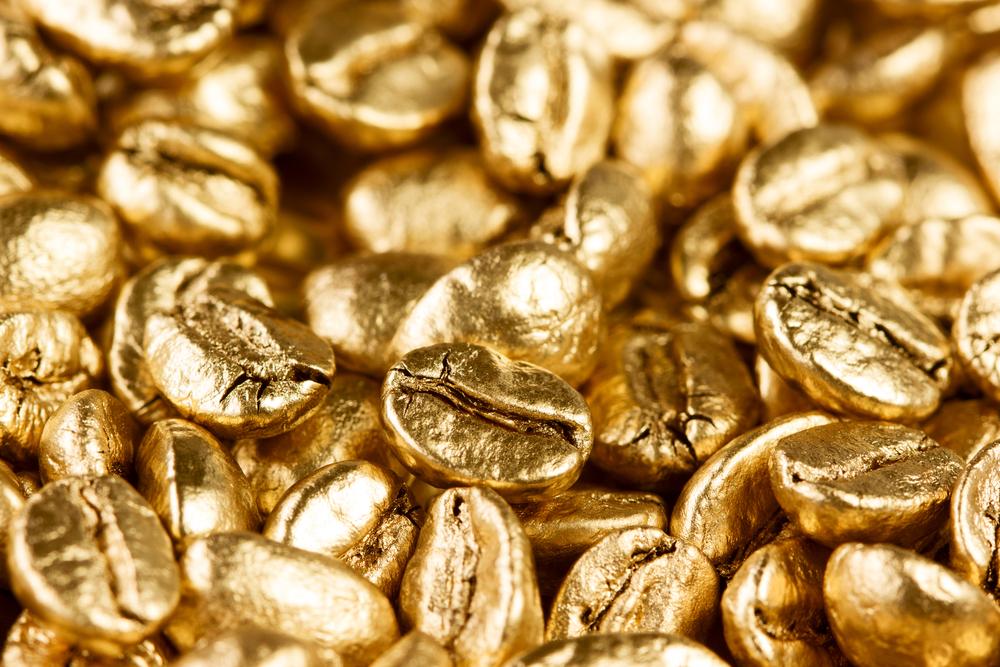 goldene kaffeebohne
